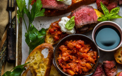 Steak & Burrata Crostinis with Italian Tomato Bruschetta